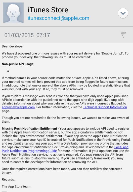 iOS App Rejection - 'Non-Public API Usage' - GameCreators Forum